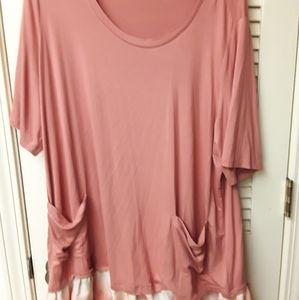 Blush Pink Boho Shirt Dress Pockets 2X Plus